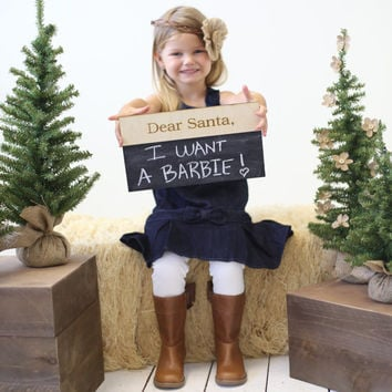 Dear Santa Christmas Chalkboard Sign Photo Prop Family Photos (Item Number 140404) Sale!!
