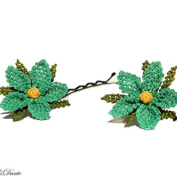 Turquoise flower hair clip, aqua green hair pins, Turkish silk, crocheted lace, wild flower hair accessory