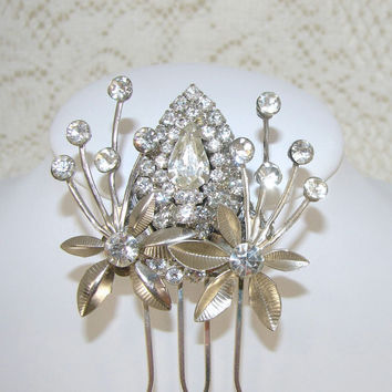 Rhinestone Wedding Hair Comb Formal Accessory Bridal Hairpiece Flowers Vintage Upcycled Jewelry Jeweled Headpiece Fascinator