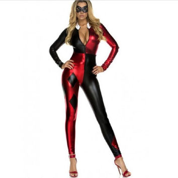 2016 Super Villain Harley Quinn Costumes Halloween Costumes For Women Cosplay Zentai Suit The Most Popular Free Shipping