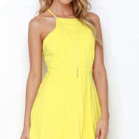 West Coast Swing Yellow Skater Dress