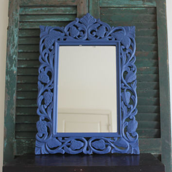 Blue painted ornate leaf design mirror, blue decor, decorative mirror