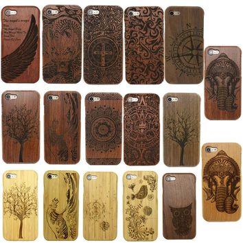 Genuine Wood Bamboo 5 6 Skins Nature Carving Wooden Hard Cover Case For Apple iPhone 7 7 Plus 6S 5S SE Cover Shell+free gift