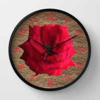 Gold Glitter Single Rose Flower Wall Clock by Deluxephotos