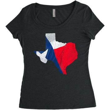 Eroded Texas Map With Flag Women's Triblend Scoop T-shirt