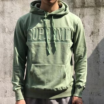 Supreme Fashion Edgy Logo Embroidery Loose Hooded Top Sweater Pullover