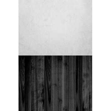 Ivory Plaster Concrete Slate Soot Black Wood Switchover Backdrop - S124