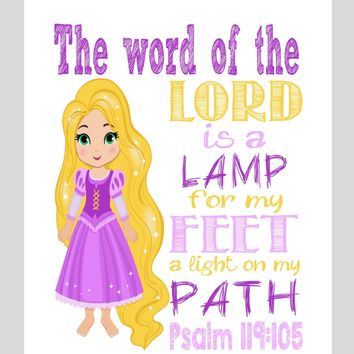 Rapunzel Christian Princess Nursery Decor Wall Art Print - The word of the Lord is a lamp for my feet Psalm 119:105 Bible Verse - Multiple Sizes