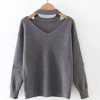 2016 autumn winter Women christmas sweater CHOCKER v neck knitted zipper long sleeve loose sweaters and pullover for ladies