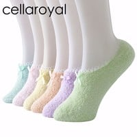 Cellaroyal Warm Winter Slipper Socks For Womens Non Skid Anti Slip Grip Soft Cozy Fuzzy Socks (Low cut 6 pairs pack)