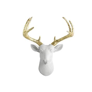 The Mini Virginia | Deer Head | Faux Taxidermy | White  + Gold Glitter Antlers Resin