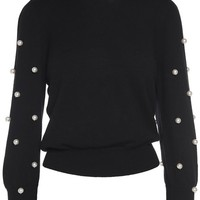 Faux pearl-embellished merino wool and cashmere-blend sweater MARC JACOBS