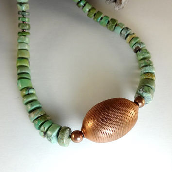 Jewelry Necklace Turquoise Hand Worked Copper Focal