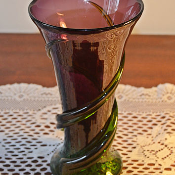 Blown Glass Vase, Amethyst Coloured Vase, Purple And Green Glass Vase, Art Glass