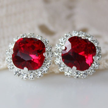 NEW: Gardenia, Red Earrings, Swarovski Crystal Stud, Cushion Cut Square, Halo Rhinestone Stud Earrings, Crystal Stud, Bridesmaid, Siam