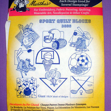 "Aunt Martha's ""Sport Quilt Blocks"" Hot Iron Transfer Pattern 3896 for Embroidery, Fabric Painting, Crafts OOP"
