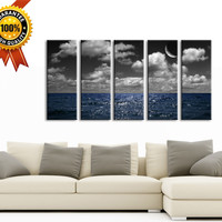 Large Wall Art Phosphorescence in Ocean and Moon Canvas Art, 5 Panels Framed Ready to Hang, Ocean  Prints On Canvas, 100% Quality Prints
