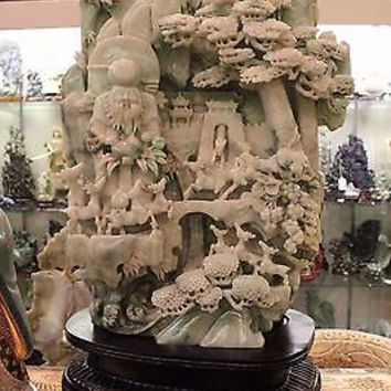 """Large Green Jade Sculpture Chinese Man and Deer Built into Mountainside 20"""""""