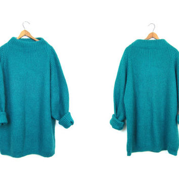 Vintage Oversized Mohair Sweater Loose Knit Fuzzy Wool Sweater Slouchy  Mock Neck Blue Pullover Sweater Fall Woven BOHO Sweater Women XL XXL
