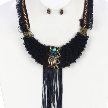 Navy Blue Layered Loop Thread Yarn Fringe Bib Necklace And Earring Set