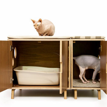 Mid Century Modern Pet Furniture    Cat Litter Box Cover    Pet House. Best Modern Cat Furniture Products on Wanelo