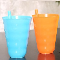 Kids Children Infant Baby Sip Cup with Built in Straw Mug Home Cup