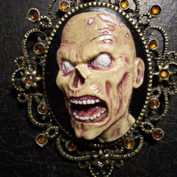 Hand Painted Zombie Bite Cameo Necklace with Rhinestones