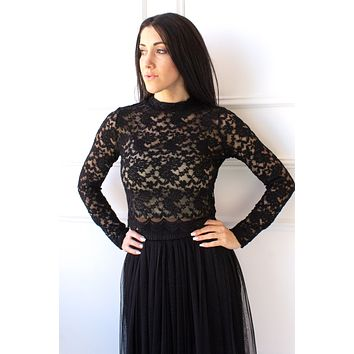 Lace Crop Top - black