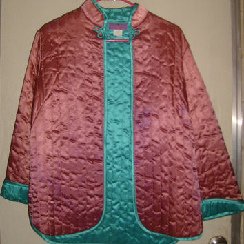 Xrare-beautiful vintage traditional quilted turquoise&pink asian jacket-small-med-polyester/feels like silk-lovely,perfect for the holidays!