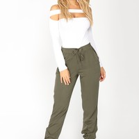 Beachy Breeze Jogger Pants - Olive