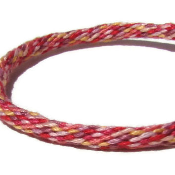 Red friendship kumihimo bracelet in a multicolor sprinkles pattern with or without purchased magnetic clasp-- your choice