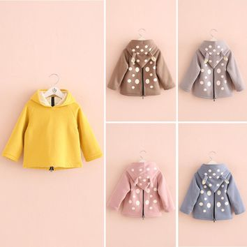 Free shipping,springtime,Hot sale girls clothing ,baby girls Thick T-shirt,owl,Hooded Dot,Tops,Tees,Casual,Fashion,Kids wear
