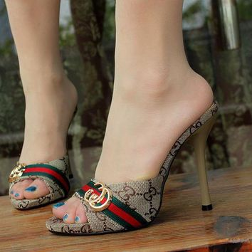 GUCCI Trending Women Fashion Heels Sandals Shoes Black G
