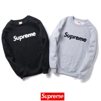 Autumn and winter tide brand embroidery SUPREME plus cashmere leisure sweater