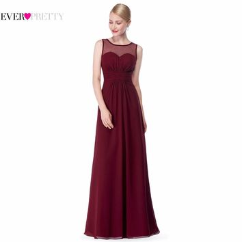 Pink Long Chiffon Bridesmaid Dress EP08761 2017 Illusion Mesh Burgundy Plus Size A Line Sleeveless Wedding Bridesmaid Dresses