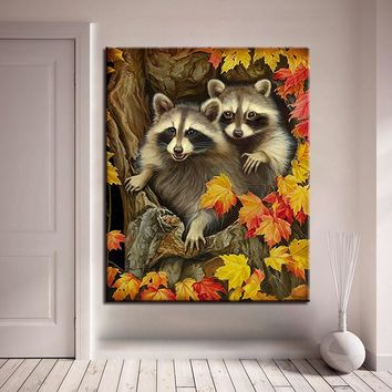 DIY Oil Painting By Numbers Drawing Raccoon Pictures Acrylic Coloring Digital Hand Paint Animal On Canvas Home Decor Wall Art