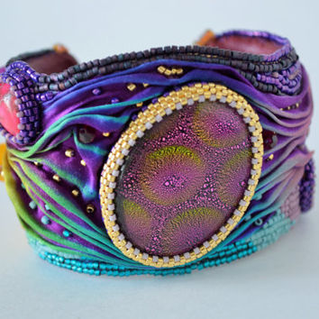 "Bracelet with a silk ribbon Shibori ""Jasmine"""