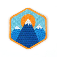 3 Mountain Iron On Patch