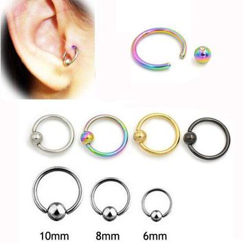 ac PEAPO2Q 2 pieces 16G Titanium Captive Hoop Bead Rings BCR Eyebrow Tragus Nose Ring Bar Lips Body Piercing Jewelry
