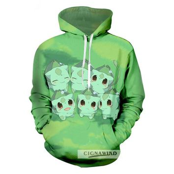 New arrival hoodie Adult Anime Cartoon hoodies Sweatshirt Mens  Green Printed 3d casual streetwear Lovely tracksuit topsKawaii Pokemon go  AT_89_9