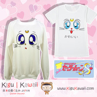 New Cool and Kawaii Sailor Moon Anime Artemis Face Emote Fleece Winter Thick Sweater and Summer Loose Tshirt KK580