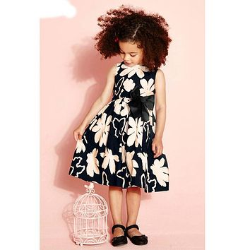 New bow knot Baby Girl clothes Dress For Infant Floral Princess Dress Children's Dresses kids Clothing