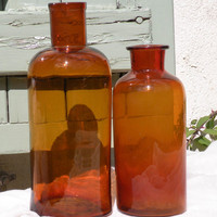 French vintage amber brown glass vases, apothecary jars, amber glassware, French home decor, amber glass bottles, French glass bottles