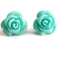 Vintage style earrings, cottage chic, jewellery, floral earring, retro blue, vintage rose, vintage flower, flower earring, ice blue