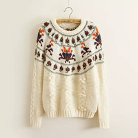 Beige printed Long-Sleeve Knitted Sweater