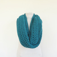 XL Big Chunky Infinity Scarf Loop Circle Thick Knit Scarf Shawl Hood Teal / Women's Infinity Scarf / Men's Infinity Scarf
