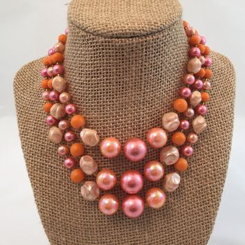 Vintage Bead Necklace - Statement Necklace - Made in Japan - Wife  - Pink Necklace -  for her -  Ideas -  for Mom - Valentines Da