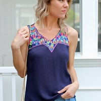 Embroidered Gauze Tank-Karlie Highlighter Embroidered Tank-$68.00 | Hand In Pocket Boutique