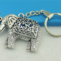 WYSIWYG Men Jewelry Key Chain, New Fashion Metal Key Chains Accessory, Vintage Elephant charm Key Rings