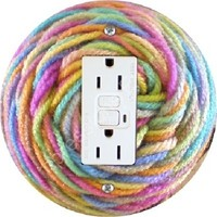 Pastel Knitting Wool Yarn GFI Outlet Plate Cover
